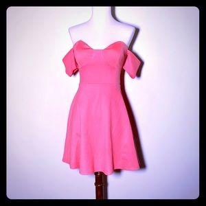 Lulu's Off The Shoulder Pink Cocktail Dress
